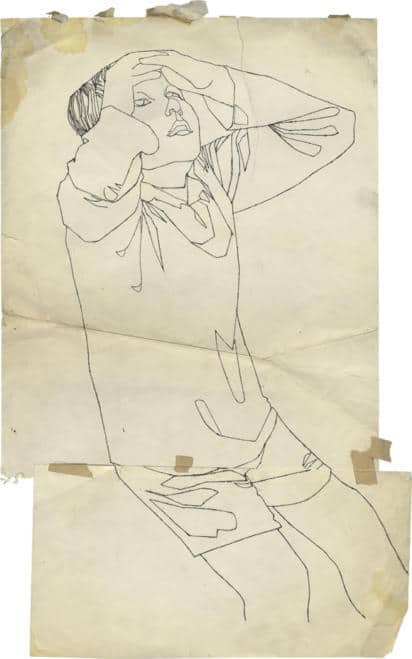 Andy Warhol, n.t. (Boy Looking Up),c. 1953, ink and graphite on paper (two sheets collaged together), 59 x 38,1 cm,© 2018 The Andy Warhol Foundation for the Visual Arts, Inc. / Artists Rights Society (ARS), New York